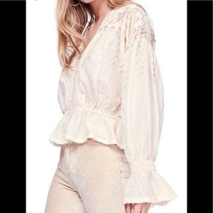 Free People Counting Star Shimmer Peasant Blouse